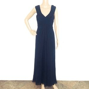 Tadashi Petite Collection Navy Pleated Silk Gown